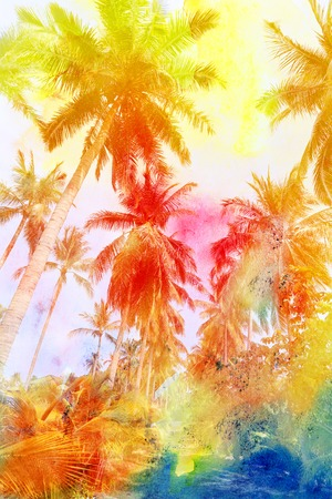 Retro photo of palm trees on a tropical island Imagens