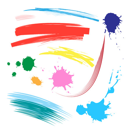 Vector set of colorful brush strokes on a white background. An example for the design of brushes