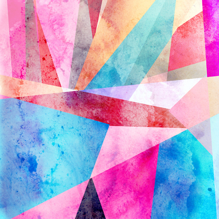 Watercolor abstract colorful background with geometry elements. Background for design template. Stock Photo