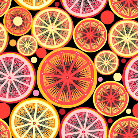 Graphic pattern of orange and lemon slices on a dark background Ilustração