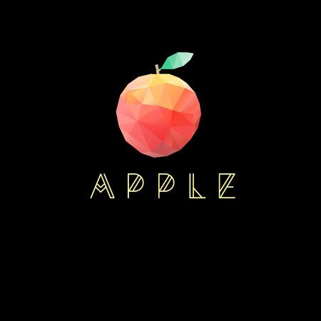 miraculous: Geometric vector symbol apple on a dark background Illustration