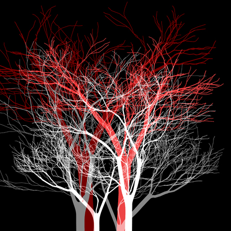 Vector graphics trees on a dark background. Example for design