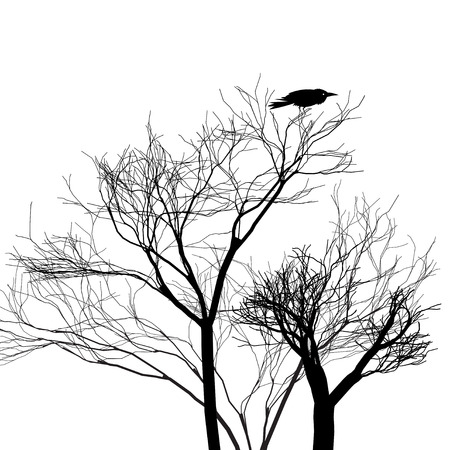 Graphic trees with a crow on a white background. Example for design Иллюстрация