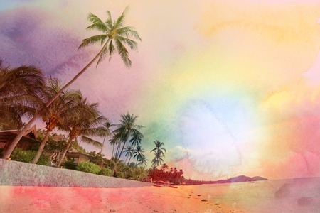 Retro photo of watercolor palm trees on a tropical island Banco de Imagens