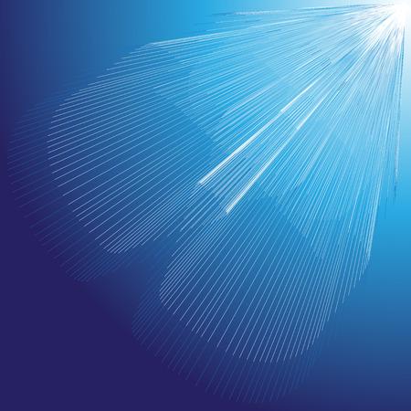 빛나는 푸른 광선으로 추상.