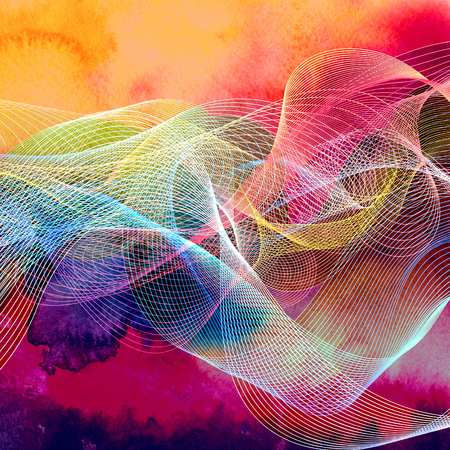 Abstract watercolor luminous background with wavy elements