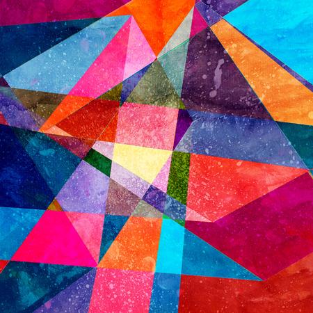 Fondo colorido abstracto acuarela con elementos de geometría. Fondo para la plantilla de diseño. Foto de archivo