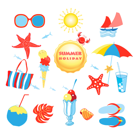 Summer set with different isolated objects on a white background