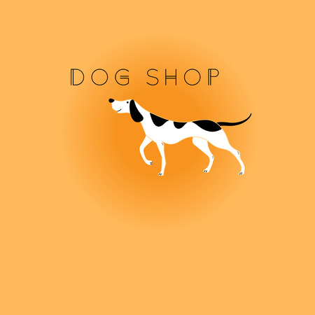 Vector graphic icon, the dog on orange background