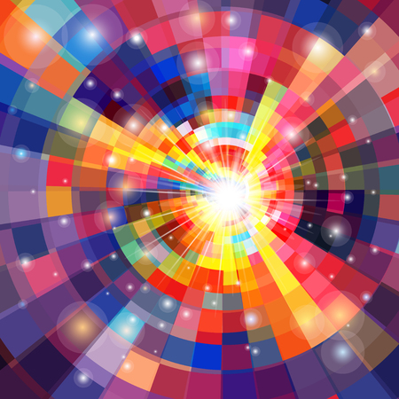 Vector abstract multicolored kaleidoscope with luminous elements Иллюстрация