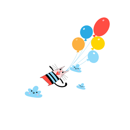 Graphics beautiful funny amorous illustration on balloons.