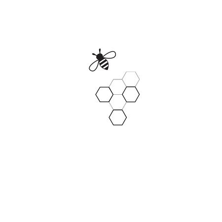 벡터 기호 꿀벌과 벌집 흰색 배경 위에
