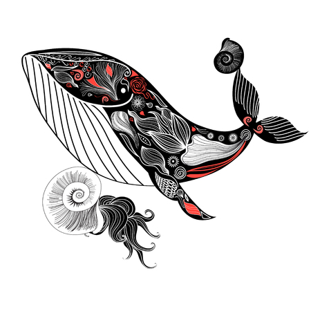 Graphic card with an ornamental whale and seashells on a white background