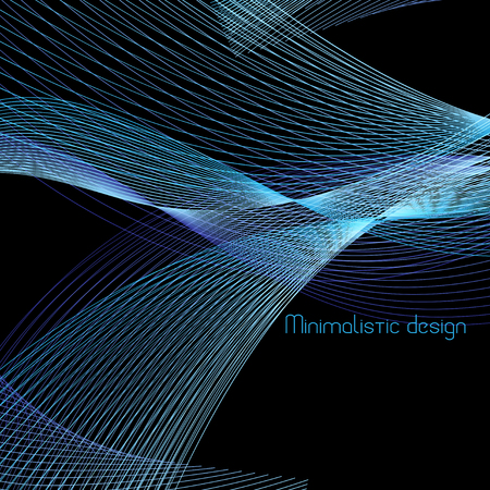 Vector abstract background with waves on a black background Illustration