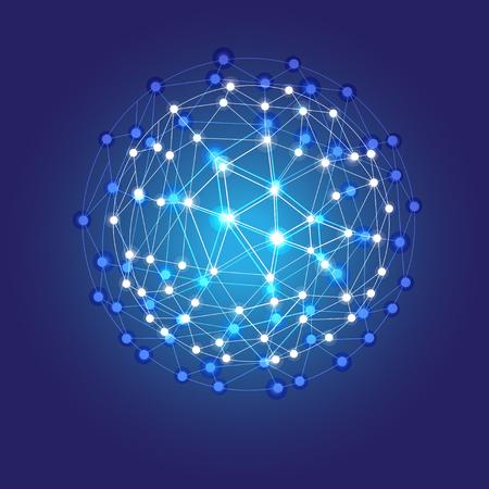 球、ベクトルの概念を輝く宇宙のグリッドをシャイニング ブルー