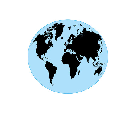 Drawing graphics card of globe with map on a white background