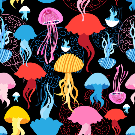 Seamless marine bright pattern with multi-colored jellyfish Illustration
