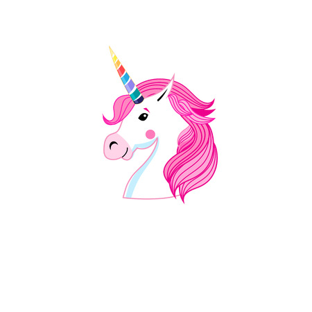 Vector icon portrait of unicorn isolated on white background