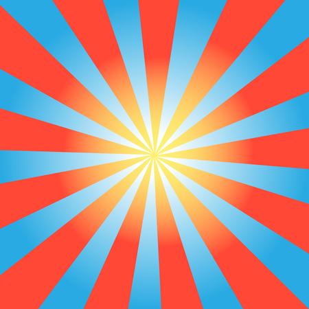 抽象的な背景明るいと青赤の太陽光線