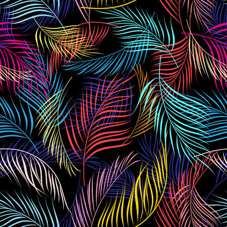 Bright multicolored pattern of leaves of palm trees on a dark background Illusztráció