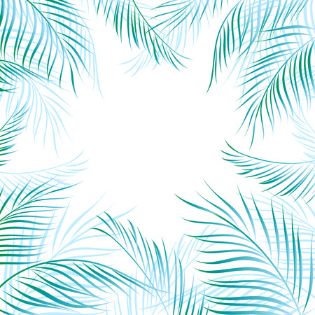 Tropical summer beautiful background with bright palm leaves Çizim