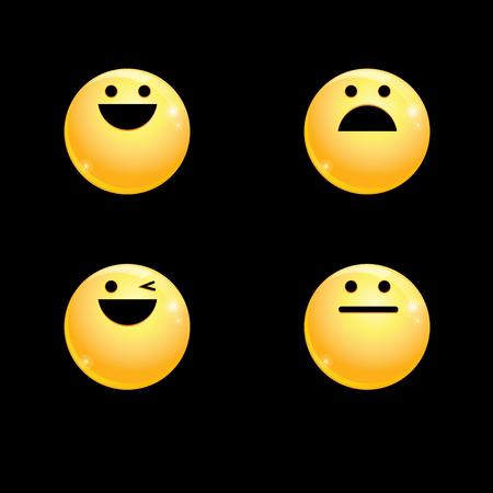 Vector volume set of smileys on a black background Illustration