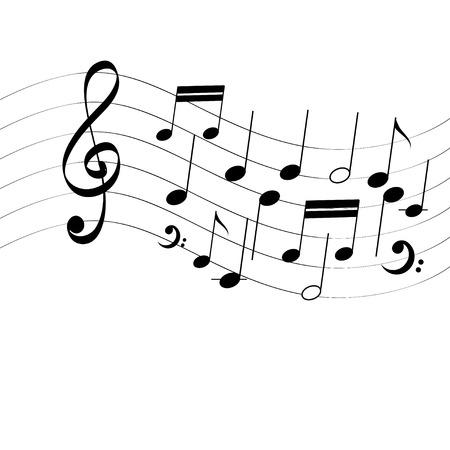 Vector notas musicales de la moda en el fondo blanco Foto de archivo - 77815871