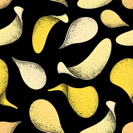 De vector naadloze tekening van de patroonhand van heerlijke chips op een donkere achtergrond Stock Illustratie