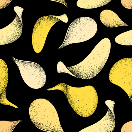 Vector seamless pattern hand drawing of delicious potato chips on a dark background Illustration