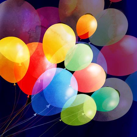 brillantes globos de fiesta multicolores sobre un fondo oscuro