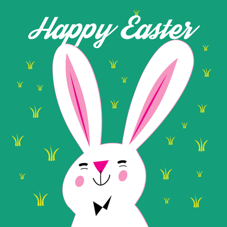 Greeting card with Easter and bunny on a green background Çizim