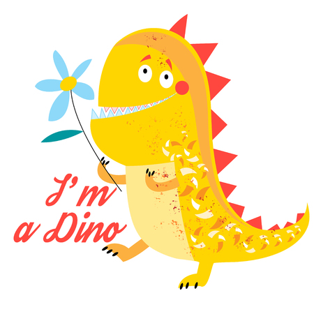Vector of brightly amusing dinosaur on white background Illustration