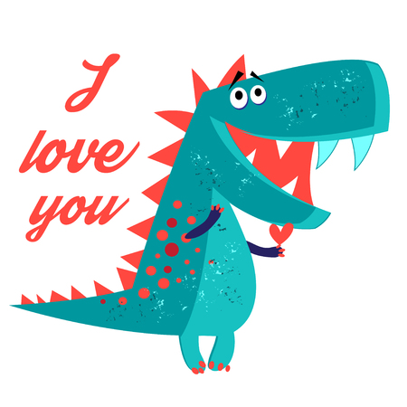 Vector brightly amorous dinosaur enamored on a white background