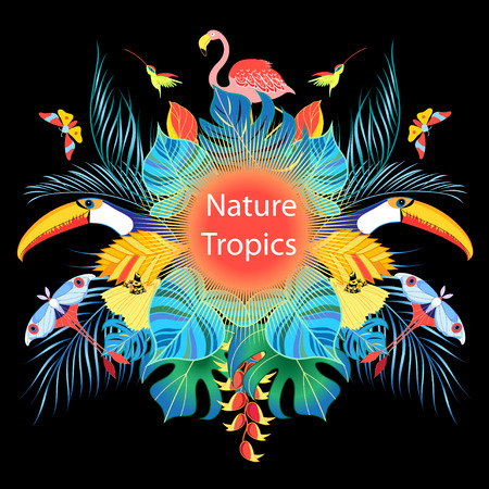 Bright tropical background with different birds and leaves on a dark background. Template for design of packing, poster, label and business card