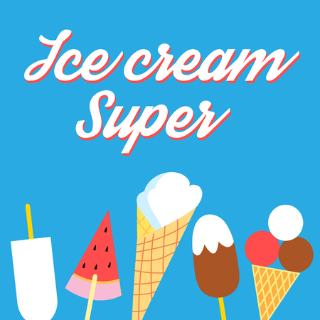 Vector super delicious ice cream poster on a blue background Illusztráció