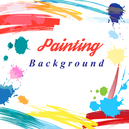 Scenic from brush strokes background. Template for posters, flyers, sites