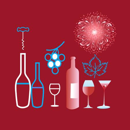 異なるワインとクラレットの背景にグラスのポスター グラフィック  イラスト・ベクター素材