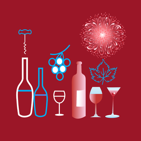 Poster graphics of different wine and glasses on a claret background Çizim