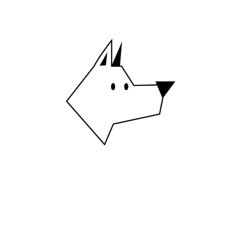 Vector black outline icon dog Illustration