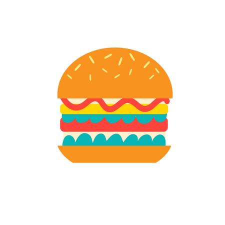 白の背景にベクトルおいしいハンバーガー アイコン