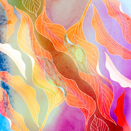 Abstract retro multicolored background with different fantastic elements