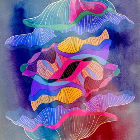 다른 기하학적 요소와 추상 다채로운 수채화 배경