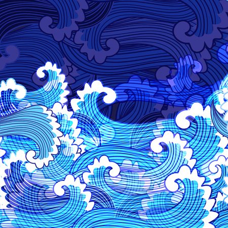 Seamless bright marine pattern of waves with foam