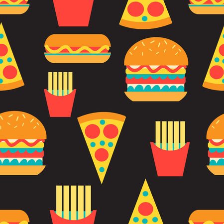 Seamless bright pattern of burgers and fast food on a dark background