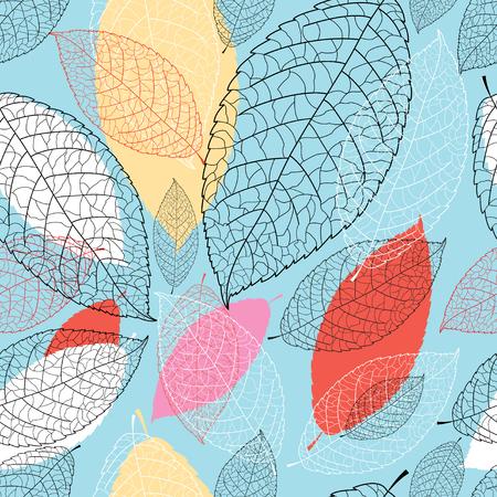 Een naadloos helder grafisch patroon van de bladeren op een blauwe achtergrond.
