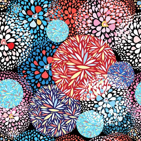 어두운 배경에 잎 동그라미의 원활한 추상적 인 패턴. 일러스트