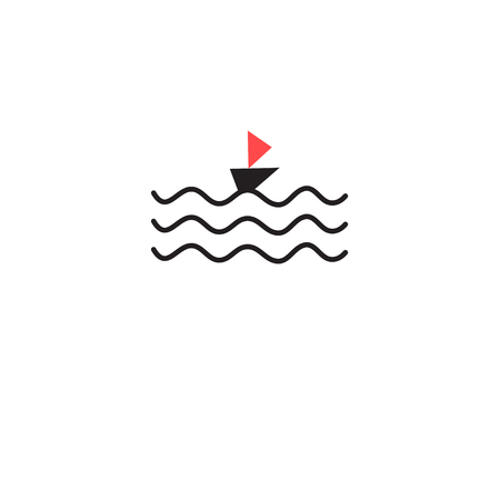 Graphic sign of a wave and a boat on a white background