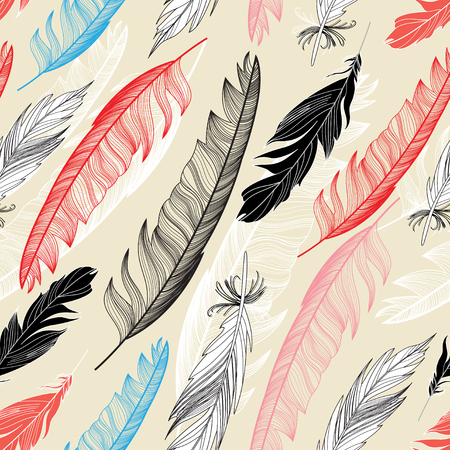 Beautiful seamless pattern with feathers on a light background Ilustração