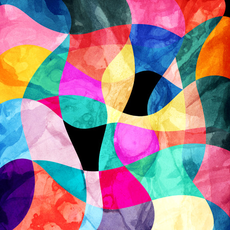 reiteration: Abstract background of bright multicolored wavy design with different elements