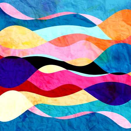 Abstract background of bright multicolored wavy design with different elements